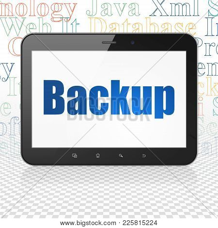 Database Concept: Tablet Computer With  Blue Text Backup On Display,  Tag Cloud Background, 3d Rende