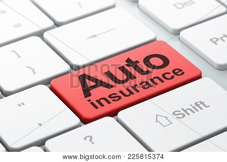 Insurance Concept: Computer Keyboard With Word Auto Insurance, Selected Focus On Enter Button Backgr