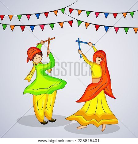 Illustration Of People Playing Hindu Folk Dance Garba And Decoration With Happy Navratri Text On The