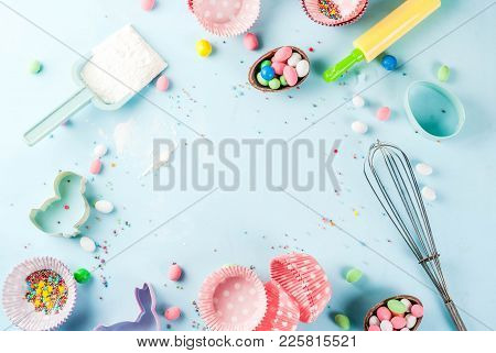 Sweet Baking Concept For Easter,  Cooking Background With Baking - With A Rolling Pin, Whisk For Whi