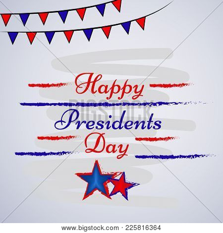 Illustration Of Stars And Decoration With Happy Presidents Day Text On The Occasion Of Usa President