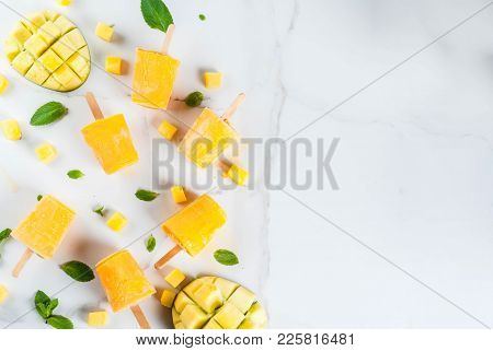 Ice Cream, Popsicles. Organic Dietary Foods, Desserts. Frozen Mango Smoothie, With Mint Leaves And F