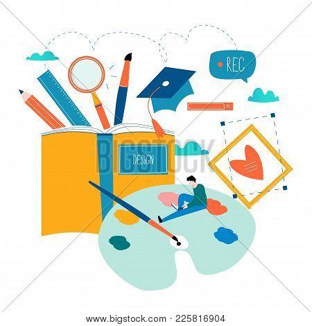 Design Studio, Designing, Drawing, Graphic Design, Education, Creativity, Art, Ideas Flat Vector Ill