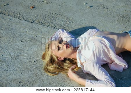 Bodycare, Skincare, Health. Girl With Long Blond Hair Lie On Sunny Day, Beauty. Sensual Woman With S