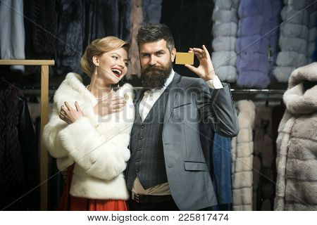 Woman In Fur Coat With Man, Seller, Customer. Business, Moneybags. Credit, Save, Shopping. Date, Cou