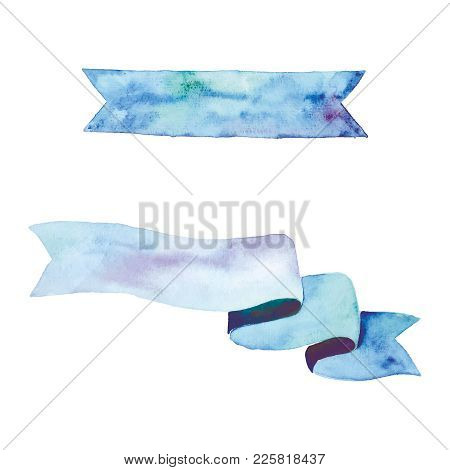 Watercolor Blue Ribbon Vector Clip Art Hand Painted Aquarell Aqua Color Banner