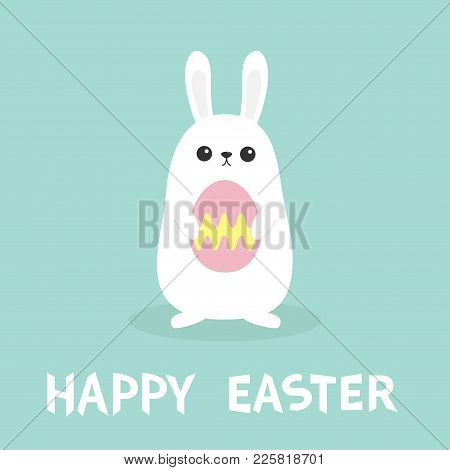 Happy Easter. Two White Bunny Rabbit Hanging Upside Down. Picaboo. Flat Design. Funny Head Face. Cut