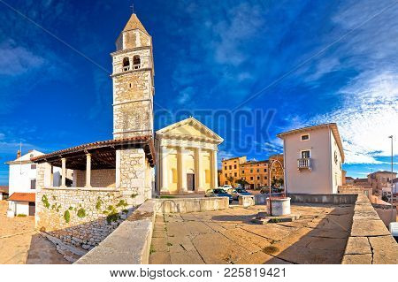 Town Of Visnjan Old Stone Square And Church View, Istria Region Of Croatia