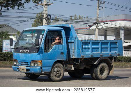 Chiang Mai, Thailand -january 9 2018: Private Isuzu Dump Truck. On Road No.1001 8 Km From Chiangmai