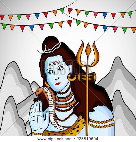 Illustration Of Hindu God Shiva And Decoration On The Occasion Of Hindu Festival Shivratri