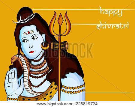 Illustration Of Hindu God Shiva With Happy Shivratri Text On The Occasion Of Hindu Festival Shivratr