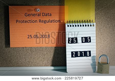 Board With The Inscription Dsgvo (general Data Protection Regulation) In English Gdpr (general Data