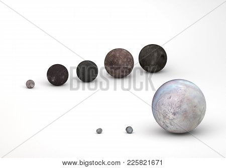 This Image Represents The Size Comparison Between Neptune And Uranus Moons In A Precise And Scientif
