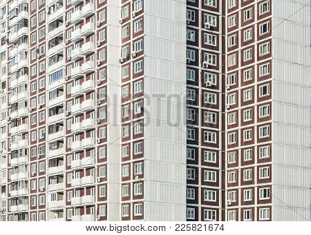Fragment Of An Apartment Building With Graphic Parallel Lines