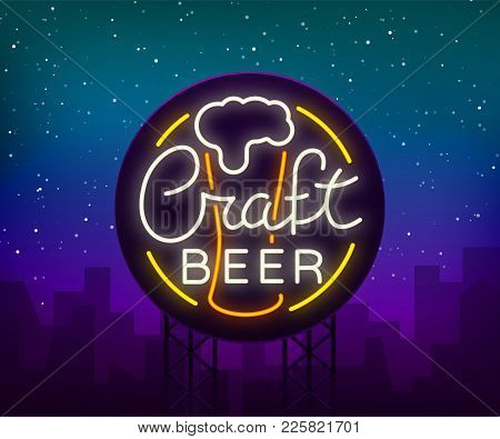 Original Logo Design Is A Neon-style Beer Craft For A Beer House, Bar Pub, Brewery Brewery Tavern, S