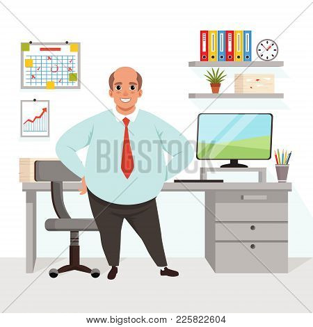 Fat Bald Man In Office. Cartoon Worker In Formal Clothing. Workplace With Table, Chair, Computer, Ch