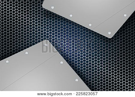 Abstract Geometric Background, Mesh, Metal Grille With Metallic Shade Frames And Bolts