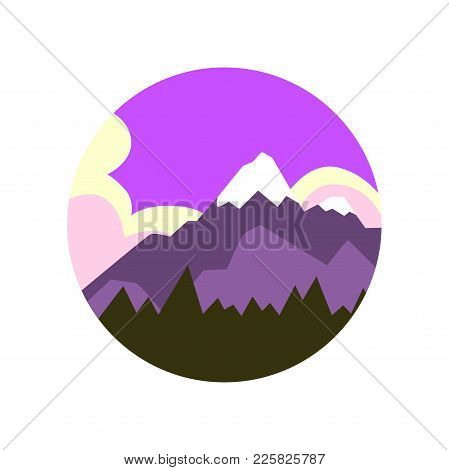 Colored Illustration Of Natural Landscape Pine Forest And Big Mountain With Snowy Peak. Beautiful Pu
