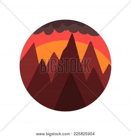 Geometric Round-shaped Emblem Of Landscape With Peaks Of Mountains, Sunset And Dark Cloud. Beautiful