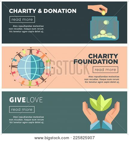 Charity And Donation Social Action Or Public Fund Organization Web Banners Templates. Vector Flat De