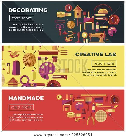 Creative Art Workshop Or Diy Handicraft Hobby Laboratory Web Banners For Kid Handmade Craft. Vector