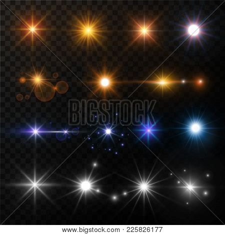 Light And Stars Shine Golden White Or Blue Neon Lens Flare Effect. Vector Isolated Set Of Sunshine L