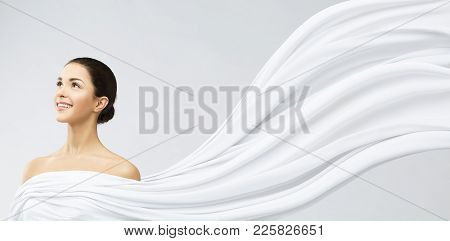 Woman Face Beauty Portrait, Young Happy Girl In White Flowing Waving Fabric, Beautiful Model Looking