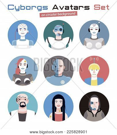 Varied Set Of Cyborgs Faces And Heads For Used As Characters Avatars. Imaginative And Friendly Colou