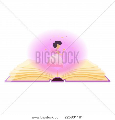 Fairy Tales, Magic, Fantasy Concept. Open Book With Magical Dust And Fairy. Vector Illustration.