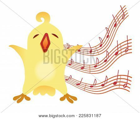A Little Birdie Sings Illustration For Vocal Lessons For Children. Vector