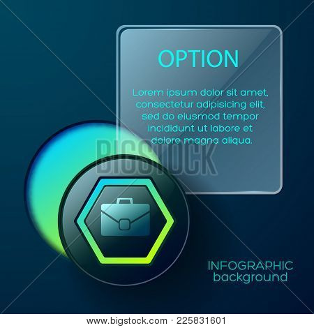 Square Business Concept With Infographic Icon Of Brief Case Inscribed In Hexagon With Circle Hole An