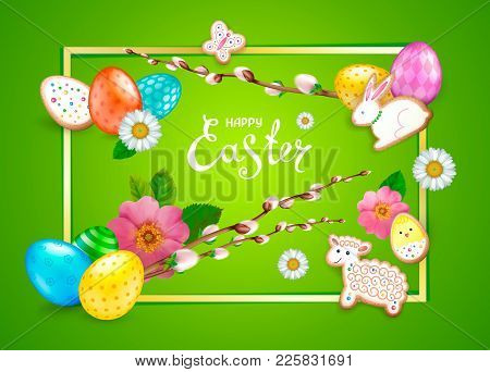 Easter Composition With Realistic Glossy 3d Eggs With Different Patterns, Cookies In The Shape Of Eg