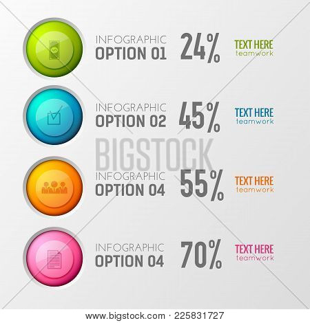 Infographic Concept With Poll Percentage Results And Option Images Of Interactive Buttons With Picto