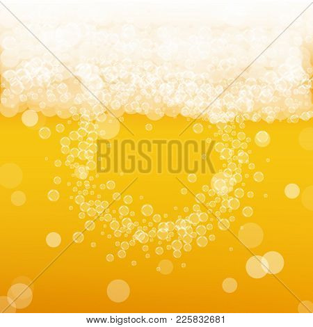 Beer Background With Realistic Bubbles. Cool Liquid Drink For Pub And Bar Menu Design, Banners And F