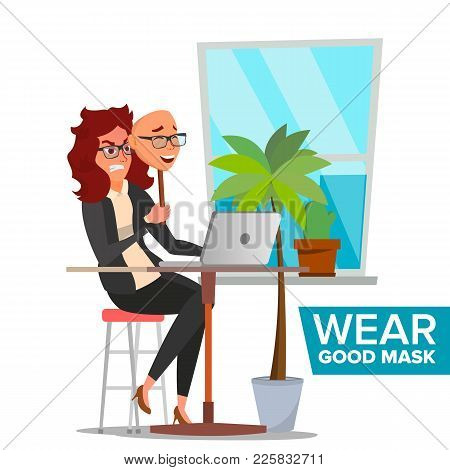 Angry Woman Wear Good Mask Vector. Bad, Tired Female. Fake Person. Deceive Concept. Isolated Flat Ca