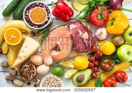 Balanced Diet Food Background. Fresh Food For Healthy Nutrition. Ingredients For Cooking. Meat, Fish