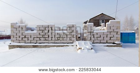 Unfinished House In The Winter In The Village .