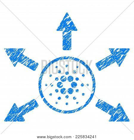 Grunge Cardano Distribution Arrows Rubber Seal Stamp Watermark. Icon Symbol With Grunge Design And D