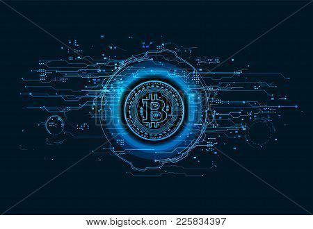 Bitcoin Inscribed In A Circle And Around Is Surrounded By High-tech Holograms And Digital Data Futur