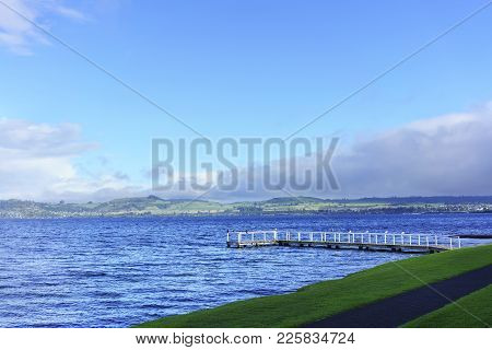 Beautiful Scenery Of Lake Taupo In The Morning , North Island Of New Zealand