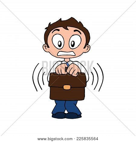 Scared Character Of Trader Businessman With Case