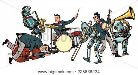 Futuristic Jazz Orchestra Of Humans And Robots, Isolated On White Background. Pop Art Retro Vector I