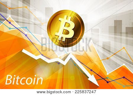 Bitcoin Cryptocurrency In The Bright Rays On Background With Statistics Chart And Arrow Going Down
