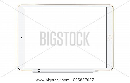 White Tablet Computer With Pencil Isolated. Mockup To Showcase Your Work In Modern Style. Vector Ill