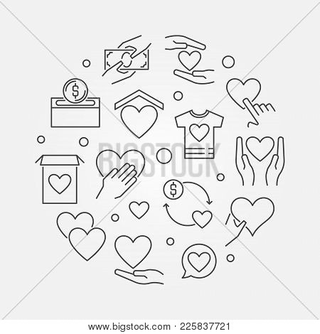 Charity And Fundraising Vector Round Concept Illustration In Outline Style