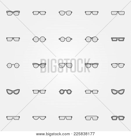 Gray Glasses Icons Set - Vector Sunglasses And Spectacles Creative Symbols Or Design Elements