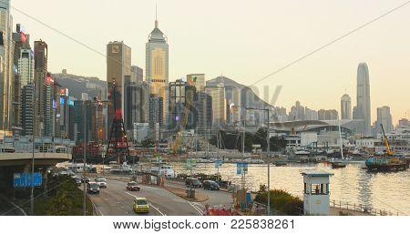 Causeway Bay, Hong Kong 14 January 2018:- Hong Kong Causeway Bay in at sunset
