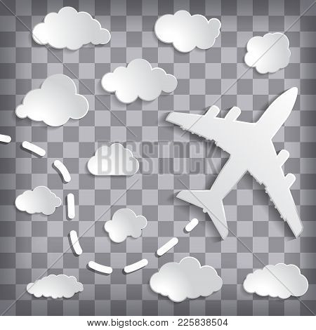 Paper Airplane With Clouds On A Chequered Grey Background.