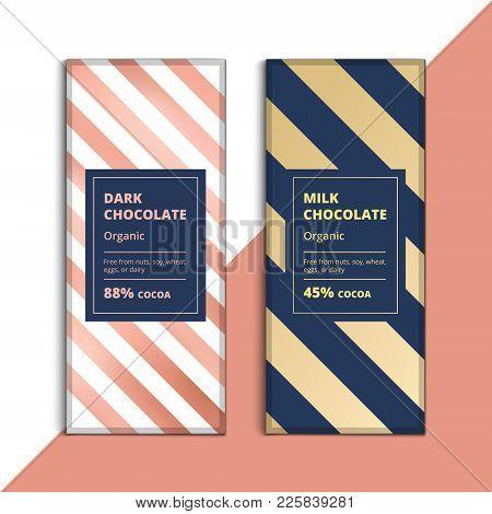 Organic Dark And Milk Chocolate Bar Design. Creative Abstract Choco Packaging Vector Mockup. Trendy