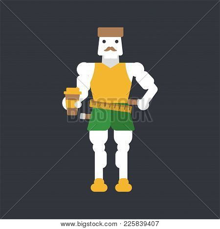 Caucasian Man Measuring His Waistline With A Tape Vector Illustration